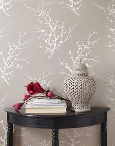 branch birds peel & stick fabric wallpaper repositionable - simple