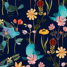 floral bird pattern