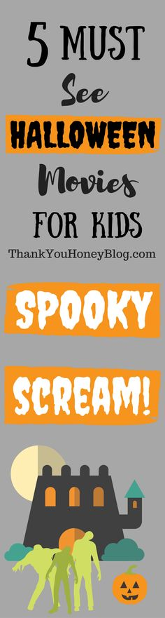 5 Must- See Halloween Movies For Kids, Fall, family, Films, Halloween, Kids, Movie Night, movies, Preschoolers, Watch Parties, Click through & PIN IT to read later & Follow + Subscribe.