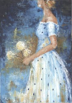 Woman white polka dot dress with flowers Acrylic Painting Original Artwork, Original Paintings, Dress Illustration, Dress Painting, Ecole Art, Whimsical Art, Pictures To Paint, Oeuvre D'art, Romance