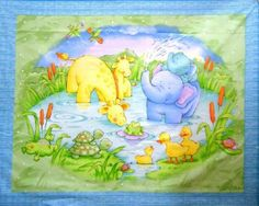 elephant and duck fabric | ... Frogs Elephants Baby Quilt Wallhanging Panel Nursery Baby Fabric