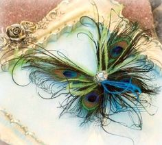 Peacock feather butterfly hair clip