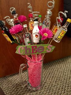 Perfect for a raffle prize, birthday gift, or bachelorette party. Booze Bouquet…Perfect for a raffle prize, birthday gift, or bachelorette party! Can be customized Fundraiser Baskets, Raffle Baskets, Liquor Bouquet, Candy Bouquet, 50th Birthday Party, Birthday Gifts, Liquor Gift Baskets, Wine Baskets, Homemade Gifts
