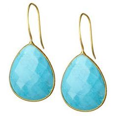 Adorned with faceted turquoise gemstones and 18-karat gold-plated brass, these chic teardrop earrings are the perfect accessory to a vibrant ensemble or neutral attire.