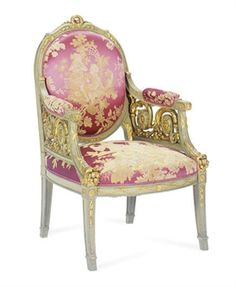A GREEN-PAINTED AND PARCEL-GILT ARMCHAIR,