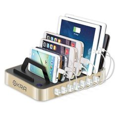 Okra Hub USB Desktop Universal Charging Station Multi Device Dock for iPhone, iPad, Samsung Galaxy, LG, Tablet PC and all Smartphones and Tablets (Rose Gold) Charging Station Organizer, Organization Station, Charging Stations, Multi Charging Station, Organisation Ideas, Electronics Projects, Best Cell Phone Deals, Airpods Apple, Hub Usb