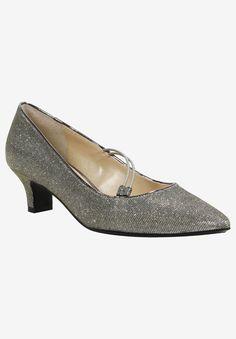 Idenah Pump by J. Low Heel Shoes, Low Heels, Comfortable Dress Shoes, Glitter Pumps, Wide Width Shoes, Evening Dresses For Weddings, Glitter Fabric, Pointed Toe Pumps, Women's Pumps