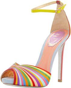 Rene Caovilla Multicolor Stripe Ankle-Wrap Sandal....makes me think of skittles!!