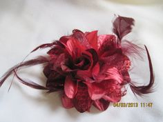 Burgandy Flower Hair Clip with Lace Silk by Belladesigns2010, $6.95