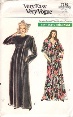 Vogue 7370 1980s Misses High Waist CAFTAN Pattern Flared Skirt womens vintage sewing pattern by mbchills