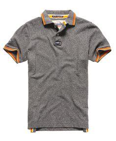 Mens - Surf Edition Pique Polo Shirt in Dark Marl Jaspe | Superdry