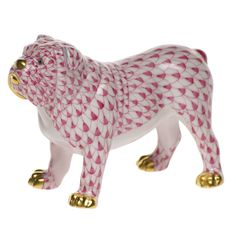 "Herend Hand Painted Porcelain Figurine ""Bulldog"" Raspberry Fishnet Gold Accents."