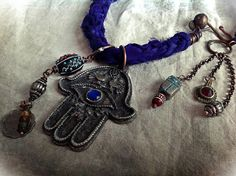 Trial gypsy amulet necklace with vintage hamsa blue by quisnam, $58.00