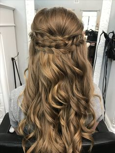 Braided half up half down prom hair