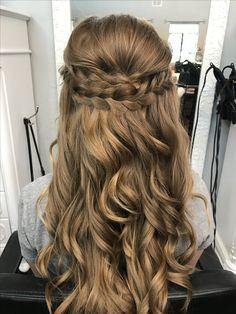 Braided half up half down prom hair