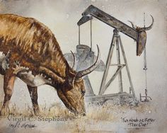 Two Heads Are Better Than One, oil and gas, pump jack and longhorn cattle print by Virgil C. Stephens