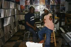 J Dilla With Peter Adarkwah from BBE Records at his home studio in Detroit. Look at all that vinyl!