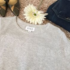 Soft & Stylish ELLE Gray Sweater w/Lace Appliqué Beautiful, soft, & effortless fashion! This gray ELLE sweater will easily become one of you go-to favs! NWT, size M. ✨Save on shipping cost & bundle!!✨ ELLE Sweaters
