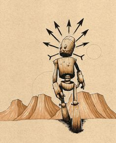 Robot walking in a psychedelic landscape. Illustrated on toned drawing paper…
