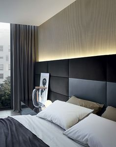 Chambre et lit d'hôtel contemporain et chic www.ch-… Contemporary and chic hotel room and bed Design Hotel, Bed Design, Home Design, Design Ideas, Contemporary Bedroom, Modern Bedroom, Contemporary Office, Contemporary Apartment, Contemporary Style