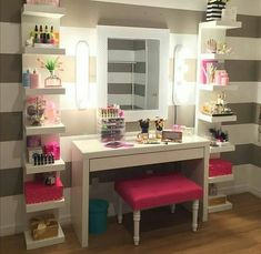Makeup Room Ideas room DIY (Makeup room decor) Makeup Storage Ideas For Small Space - TAG: Diy Makeup vanity ideas, Diy makeup storage ideas, Makeup organization diy, Makeup desk Makeup Room Decor, Makeup Rooms, Sala Glam, Vanity Room, Ikea Vanity, Vanity Set, Small Vanity, Glam Room, Teen Girl Bedrooms