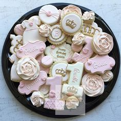 Another Royal First Birthday for a sweet little girl. in Blush, light pink and gold. #crown #royalfirstbirthday #royal #royalbaby #princess #firstbirthday #natsweets #customcookies #sandiego #cookieplatter