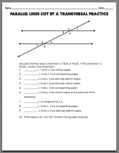 Parallel Lines Cut by a Transversal Worksheet. Free printable
