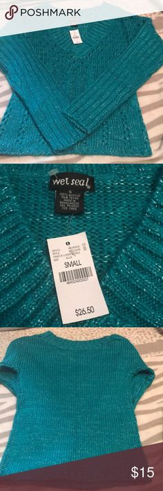 Wet Seal Size S Sweater NWT Aqua/Silver Acrylic New with tags Wet Seal Sweaters V-Necks
