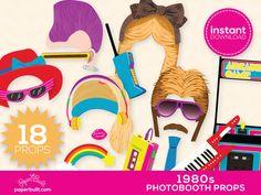 1980s Party Photo Booth Props Cassette Boombox par PaperBuiltShop