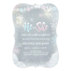 Winter Gender reveal invitation Cold Outside Snow - invitations personalize custom special event invitation idea style party card cards