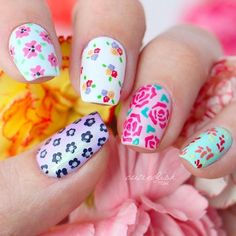 Floral Summer Nail Art With Various Of Pattern #squarenails #floralnails #flowernails ❤️ We have collected the freshest nail designs for summer 2018. Opt for vibrant colors and design to look super cool. ❤️ See more: https://naildesignsjournal.com/nail-designs-for-summer/ #naildesignsjournal #nails #nailart #naildesigns #summernails #nailsforsummer #brightnails