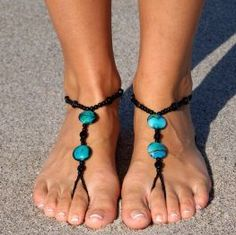 turquoise crochet feet jewels
