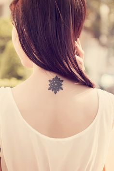 IF I got a tattoo, this is similar to what I would want. A snowflake, representing my WIsconsin roots, maybe a little higher on my neck than this one. Maybe someday!