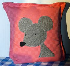 Mouse #Pillow Case, #Cushion Cover, Kawaii design, Quality Crafts, Throw Pillow, Decorative Pillow, Handmade in Norway