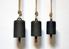 Engraved Star Bells- Brown Stoneware, Hemp Rope & Reclaimed Walnut