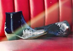 Royal blue velvet western style ankle boots with silver detail. Lush!