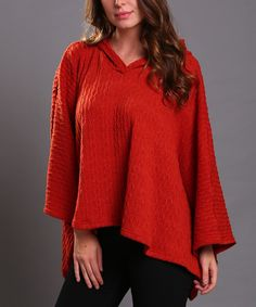 Look at this Orange Patterned Poncho on #zulily today!