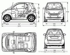 Smart Fortwo Coupe (2007) - Смарт - чертежи, габариты, рисунки автомобиля