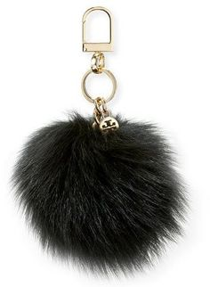 Tory Burch Fur Pompom Key Fob, Black