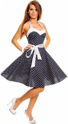 Letní tmavomodré retro šaty s puntíky 6e76080df41