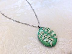 Green Leaf Necklace Teal White Leaves by CLINKeCreations on Etsy