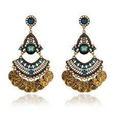 2015 new European and American fashion ethnic Bohemian crystal drop earrings, exaggerated gold vintage coin earrings for women(China (Mainland))