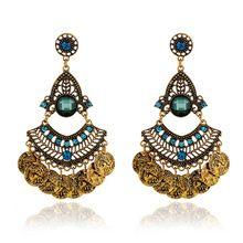 2016 nova moda étnica Bohemian gypsy ouro brincos de cristal, Vintage de canal brincos para mulheres jóias(China (Mainland))
