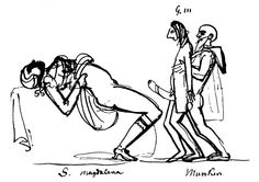 "Carl August Ehrensvärds caricature of ""Munck"" assisting King Gustav III during his first intercourse with Queen Sofia Magdalena after nine years of sexless marriage.  From left Sofia Magdalena, Gustav and Adolf Fredrik Munck af Fulkila. 1775"