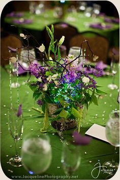 Enchanted forest wedding table centerpieces
