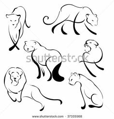 Vector illustration of Lion Design Set made with simple line only by Triling Studio LTd., via ShutterStock