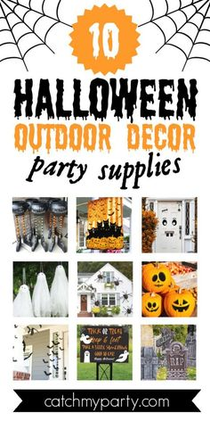 Halloween is one of my favorite holidays of the year and it's such a thrill prepping for it. Decorating a Halloween party is awesome but finding the perfect indoor and outdoor Halloween party decorations can be challenging. Check out the 10 best outdoor Halloween party decoration supplies we've rounded up to help you find the perfect ones for you. See more party ideas and share yours at CatchMyparty.com #catchmyparty #partyideas #halloween #halloweenpartydecorations…