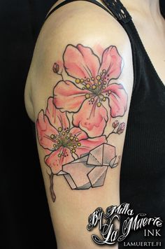 Flowers and origami tattoo by Milla Sipola @ La Muerte Ink