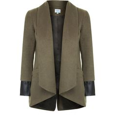 TOPSHOP **Coty Leather Cuff Throw-On Jacket by Jovonna ($61) ❤ liked on Polyvore featuring outerwear, jackets, khaki, topshop, topshop jacket, khaki jacket ve brown jacket