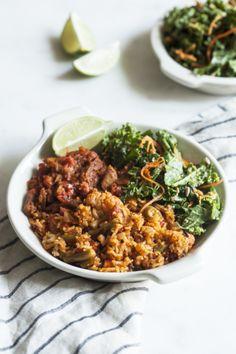 Spicy Seitan and kale bowls